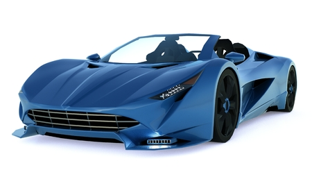 Blue conceptual sports cabriolet for driving around the city and racing track on a white background. 3d rendering Stock Photo