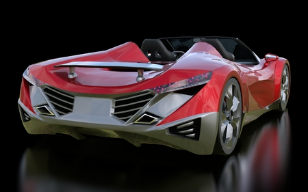 Red conceptual sports cabriolet for driving around the city and racing track on a black background. 3d rendering