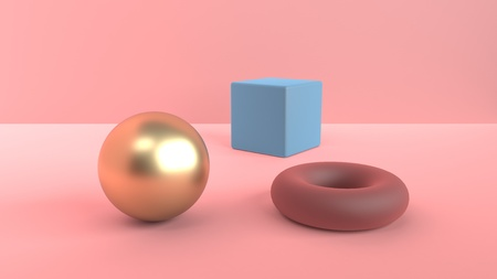 Abstract scene of geometric shapes. Golden ball and blue cube and a red-brown torus. Soft diffused light in a powdery pink 3D scene. 3d rendering Imagens