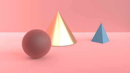 Abstract scene of geometric shapes. Golden cone, blue pyramid and Burgundy-brown ball. Soft diffused light in a powdery pink 3D scene. 3d rendering Imagens