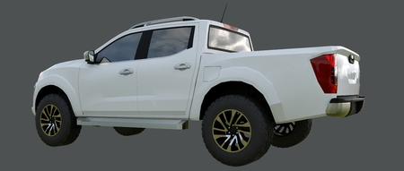 White commercial vehicle delivery truck with a double cab. Machine without insignia with a clean empty body to accommodate your logos and labels. 3d rendering