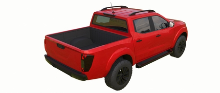 Red commercial vehicle delivery truck with a double cab. Machine without insignia with a clean empty body to accommodate your logos and labels. 3d rendering