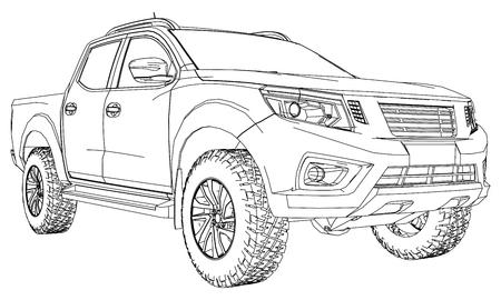 Camion per le consegne di veicoli commerciali con cabina doppia. Macchina senza insegne con un corpo vuoto pulito per accogliere i vostri loghi ed etichette
