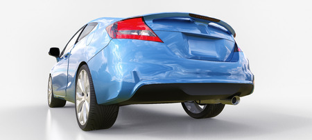 Blue small sports car coupe. 3d rendering Stock Photo