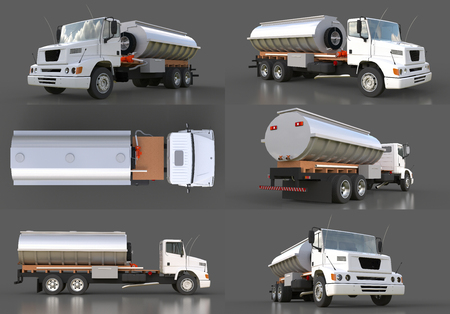 Set large white truck tanker with a polished metal trailer. Views from all sides. 3d illustration