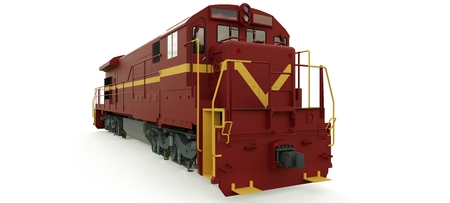 Modern diesel railway locomotive with great power and strength for moving long and heavy railroad train. 3d rendering