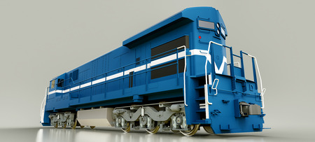 Modern blue diesel railway locomotive with great power and strength for moving long and heavy railroad train. 3d rendering
