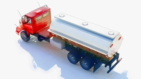Large red truck tanker with a polished metal trailer. Views from all sides. 3d illustration