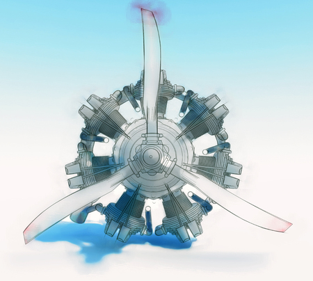 Old rotary circular aircraft engine with propeller. The illustration is stylized as a hand drawing. 3d rendering Stock Photo
