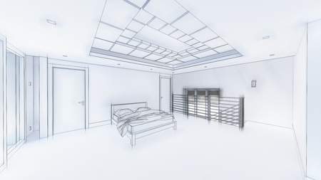 3d illustration of living room and kitchen interior design. 3d rendering