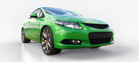 Green small sports car coupe. 3d rendering Reklamní fotografie