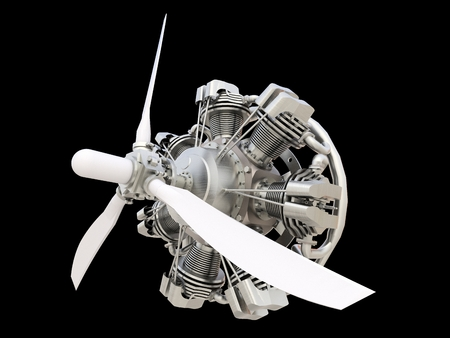 Old circular aircraft internal combustion engine with propeller and blades. 3d rendering