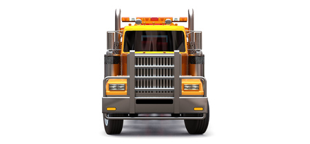 Orange cargo tow truck to transport other big trucks or various heavy machinery. 3d rendering
