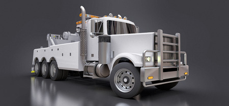 White cargo tow truck to transport other big trucks or various heavy machinery. 3d rendering Stock Photo