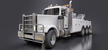 White cargo tow truck to transport other big trucks or various heavy machinery. 3d rendering Banque d'images