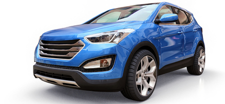 Compact city crossover blue color on a white background. 3d rendering