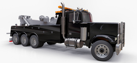 Black cargo tow truck to transport other big trucks or various heavy machinery. 3d rendering Stock Photo - 114463714