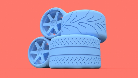 Many sports car wheels standing together. Minimal style installation. 3d rendering Imagens