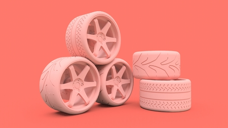 Many sports car wheels standing together. Minimal style installation. 3d rendering 免版税图像