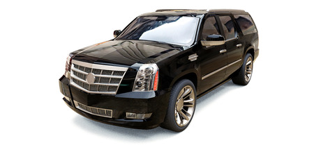 Big black premium SUV on a white background. 3d rendering