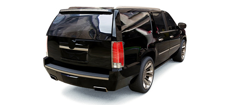 Big black premium SUV on a white background. 3d rendering