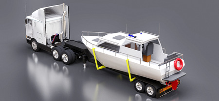 3D illustration of a big white truck with a trailer for transporting a boat on a gray background. 3d rendering