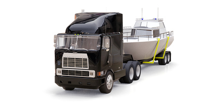 3D illustration of a big black truck with a trailer for transporting a boat on a gray background. 3d rendering Stock Photo