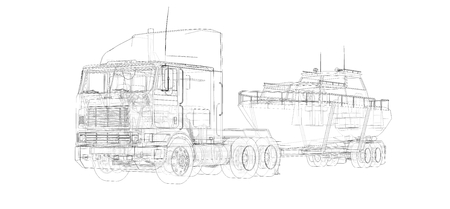 Big truck with a trailer for transporting a boat on a white background. 3d rendering Stock Photo