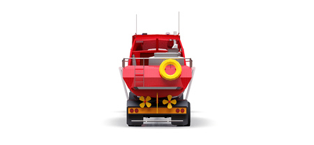 Big red truck with a trailer for transporting a boat on a white background. 3d rendering