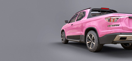 3D illustration of pink concept cargo pickup truck on grey isolated background. 3d rendering