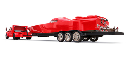 Big red truck with a trailer for transporting a racing boat on a white background. 3d rendering