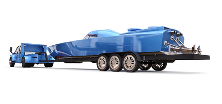 Blue truck with a trailer for transporting a racing boat on a white background. 3d rendering