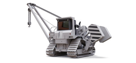 White crawler crane with side boom. 3d rendering