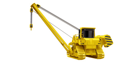 Yellow crawler crane with side boom. 3d rendering