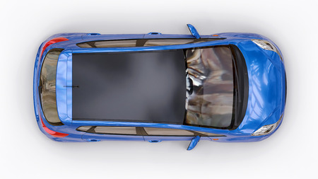 Blue city car with blank surface for your creative design. 3D rendering