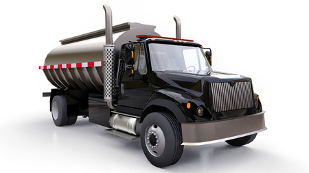Large black truck tanker with a polished metal trailer. Views from all sides. 3d illustration