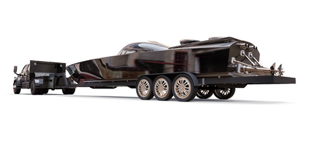 Black truck with a trailer for transporting a racing boat on a white background. 3d rendering