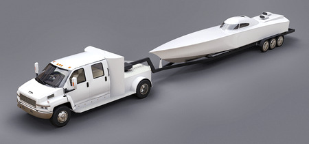 White truck with a trailer for transporting a racing boat on a grey background. 3d rendering