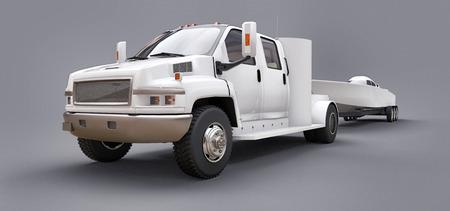 Biała ciężarówka z przyczepą do transportu łodzi wyścigowej na szarym tle. renderowanie 3d Zdjęcie Seryjne
