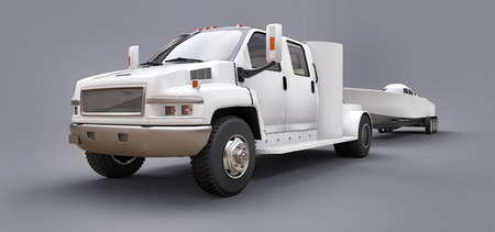 Camión blanco con remolque para transportar un barco de carreras sobre un fondo gris. Representación 3d Foto de archivo