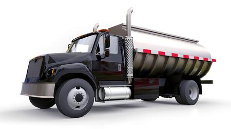 Grand camion-citerne noir avec une remorque en métal poli. Vues de tous les côtés. illustration 3D
