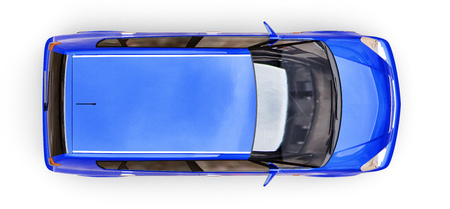 Blue city car with blank surface for your creative design. 3D illustration
