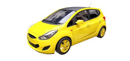 Gelbes Stadtauto mit leerer Oberfläche für Ihr kreatives Design. 3D-Rendering