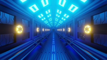 Futuristic hexagonal tunnel in a spacecraft with a spacewalk. Soft yellow-blue light, lamps on the walls of the corridor. 3d rendering Stock fotó