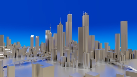 Three-dimensional landscape of the modern city. The huge layout of the metropolis. 3D rendering
