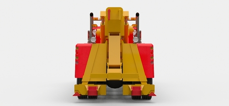 Red cargo tow truck to transport other big trucks or various heavy machinery. 3d rendering Banco de Imagens