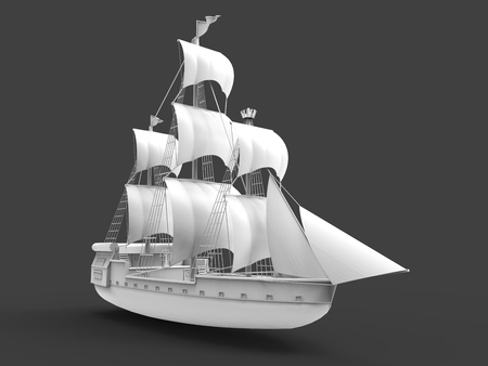 Three-dimensional raster illustration of an ancient sailing ship on a gray background with soft shadows. 3d rendering