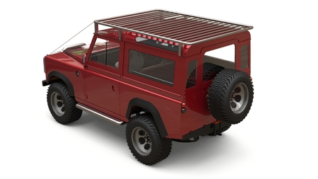 Red old small SUV tuned for difficult routes and expeditions. 3d rendering. Imagens