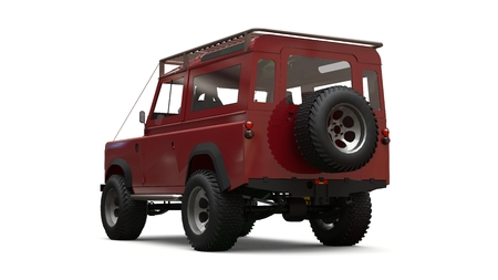 Red old small SUV tuned for difficult routes and expeditions. 3d rendering