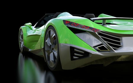 Green conceptual sports cabriolet for driving around the city and racing track on a black background. 3d rendering